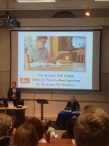 The Vice Chancellor talking about 'The Student VLE' project. A proud moment for all involved.